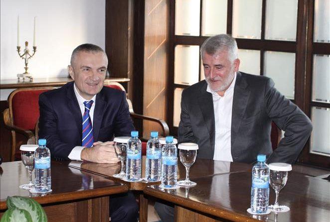 Kryetari i PDSH-së Menduh Thaçi takon presidentin e Shqipërisë, Ilir Meta