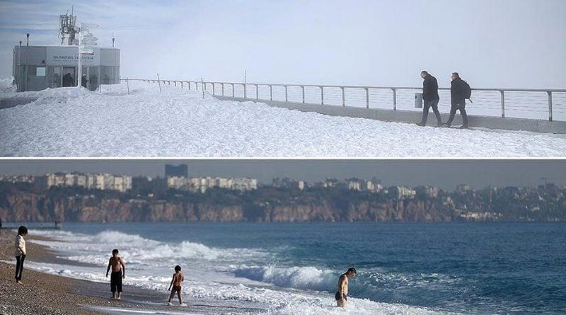 Antalya, turistët në të njëjtën ditë shijojnë detin dhe borën