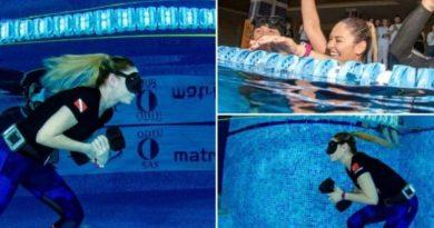 Rekord i ri për ecjen nën ujë me vetëm një frymë (VIDEO)